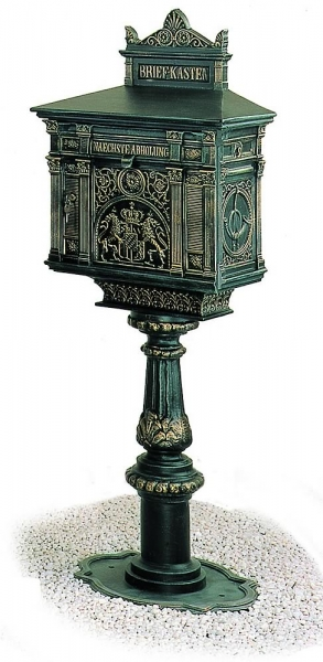 Copper appearence pedestal mailbox