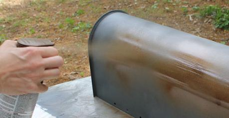 Spray paint the mailbox