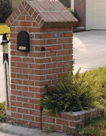 Brick mailbox with flower box